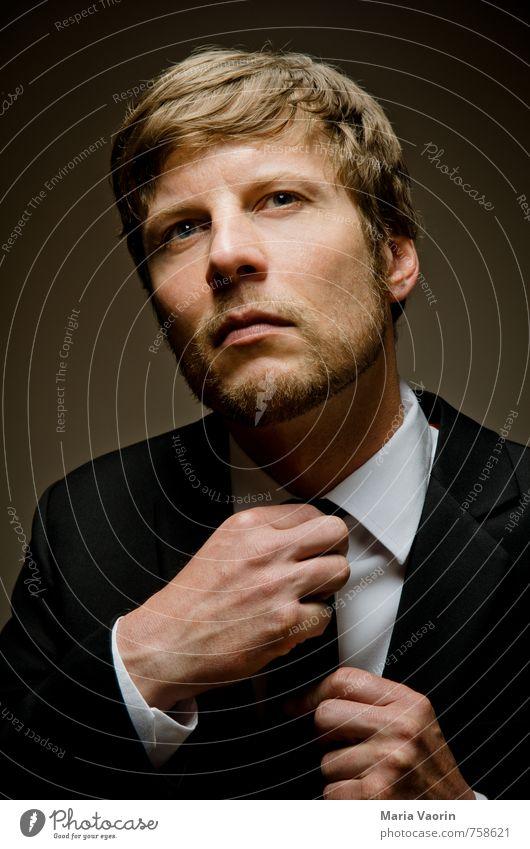 suit tie guy Stil Hochzeit Büroarbeit Business Karriere Erfolg Mensch maskulin Mann Erwachsene 1 30-45 Jahre Hemd Anzug Krawatte Bart Dreitagebart seriös