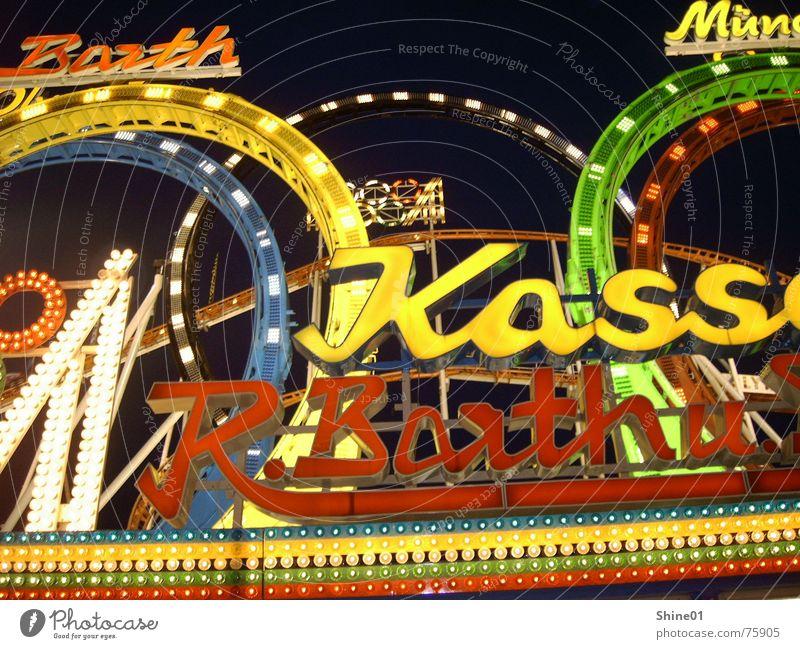 Neon Achterbahn Neonlicht Leuchtreklame Kasse mehrfarbig Oktoberfest Lichtspiel Jahrmarkt rollercoaster Lampe Kontrast