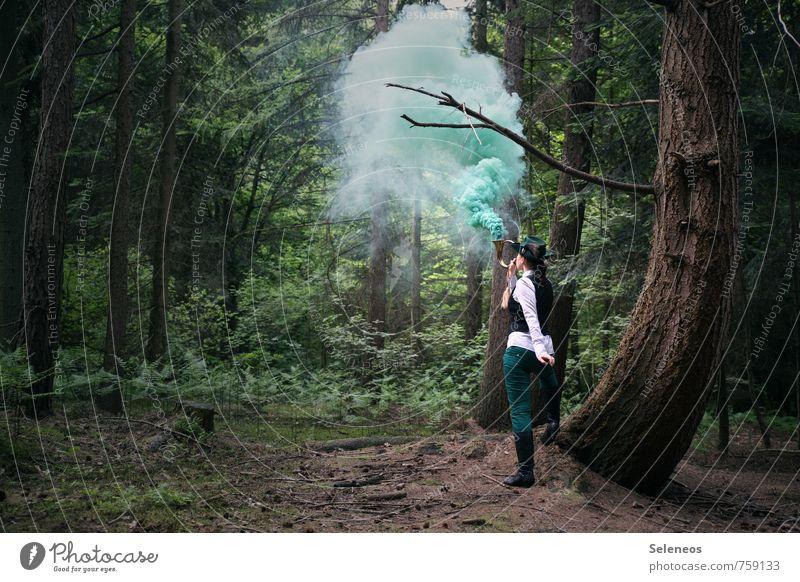 Rauchzeichen Mensch Frau Natur Landschaft Wald Erwachsene Umwelt feminin Ausflug Kommunizieren Abenteuer Rauch Förster Rauchzeichen