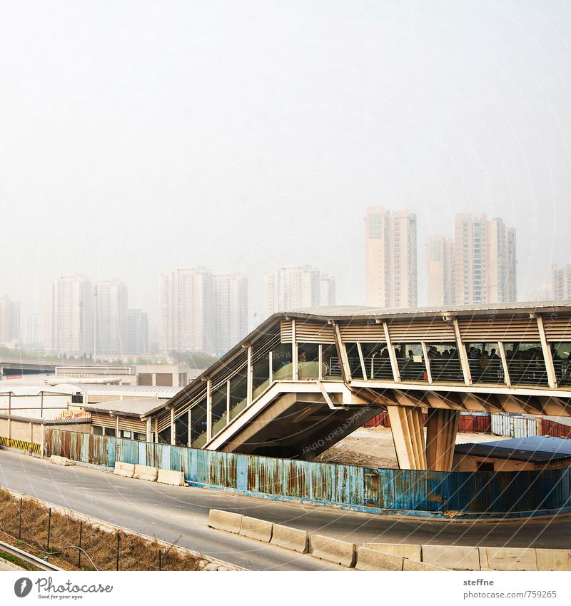 Metropolis Peking China Stadt Stadtleben Hochhaus Verkehr überbevölkert Umweltverschmutzung Smog