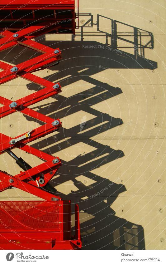 Hebebühnenschatten Wand Beton rot Stahl Schatten Grafik u. Illustration Architektur