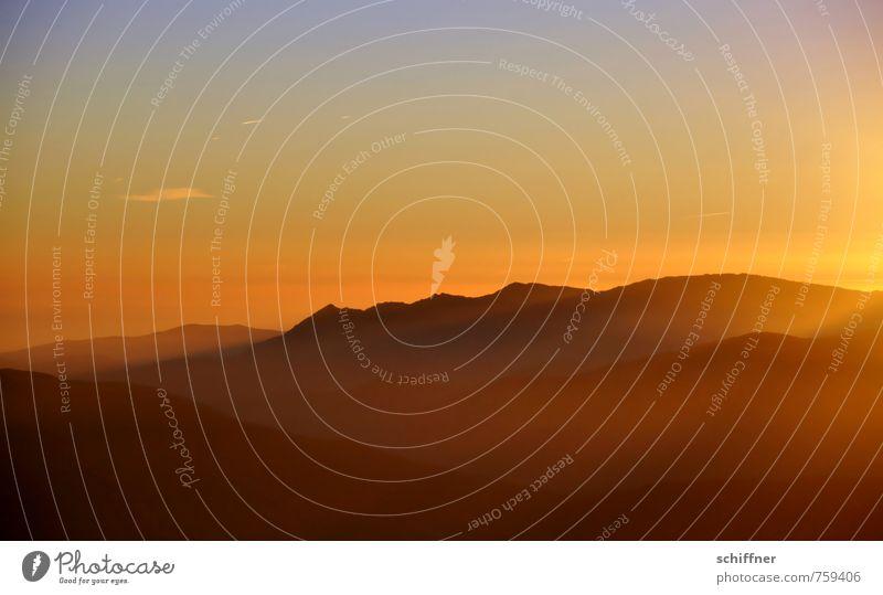 Goldpuder Umwelt Natur Landschaft Himmel Sonne Sonnenaufgang Sonnenuntergang Sonnenlicht Klima Klimawandel Wetter Schönes Wetter Hügel gelb orange rot schwarz
