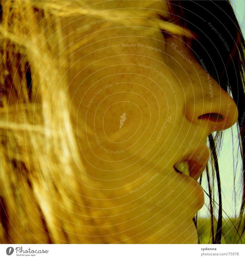 Wind-Kind Sommer Sonnenstrahlen angenehm Porträt Frau erleuchten Silhouette Wärme Haare & Frisuren wehen Landschaft Gesicht face Mensch Blick Profil