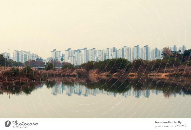Reflektion Stadt Wasser Haus kalt trist modern Wachstum Hochhaus Asien Flussufer Symmetrie Süd Korea