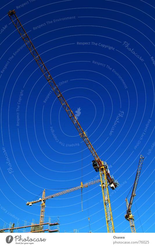 Baukräne Kran Ausleger himmelblau Baustelle Himmel bauen