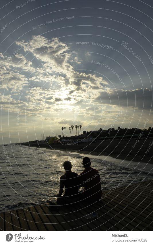 Together Abschied Zusammensein Meer Steg Freundschaft Strand Sonnenuntergang Wolken Himmel Liebe