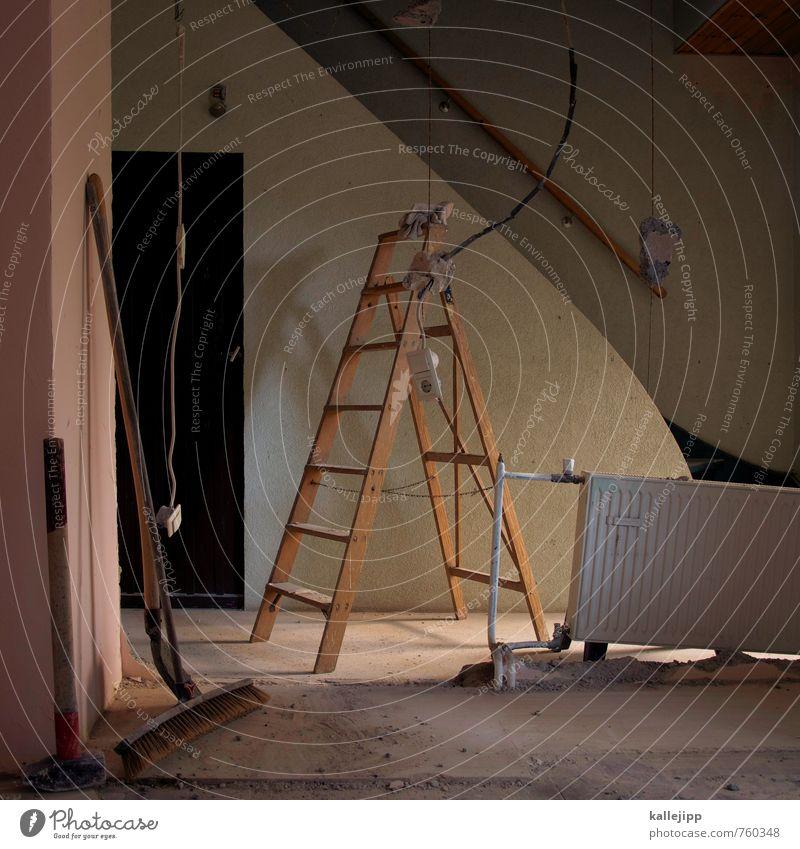 bausparvertrag Arbeit & Erwerbstätigkeit Handwerker Arbeitsplatz Baustelle Leiter Treppenhaus Heimwerker Besen Heizung Heizkörper Stahlkabel Renovieren Hausbau