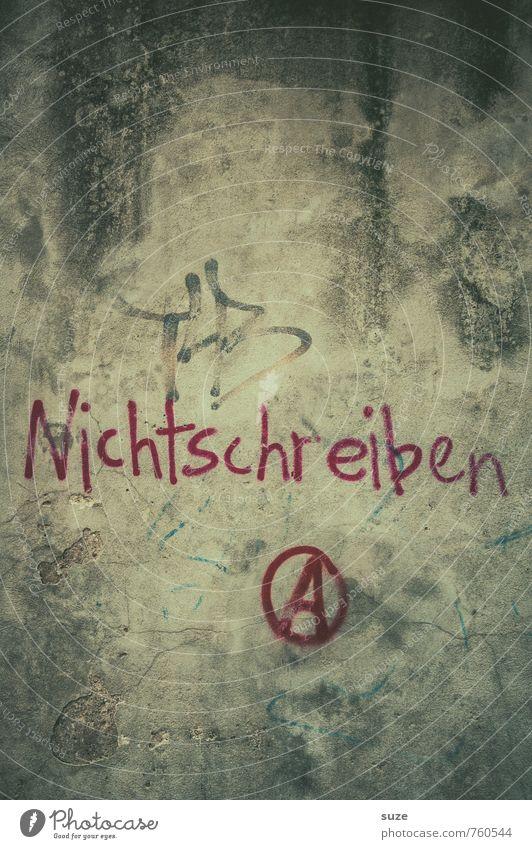Nur guggn ... alt Wand Graffiti Mauer grau dreckig trist authentisch Schriftzeichen einfach kaputt Vergänglichkeit retro Zeichen Buchstaben trocken