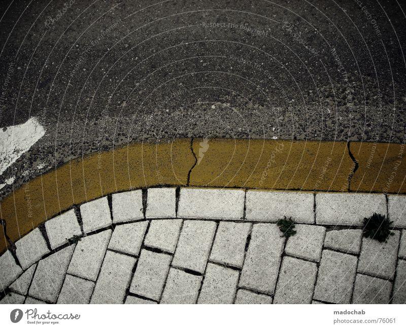 STREET INTERLUDE ONE | strasse style minimal grafik markierung weiß Stadt Straße grau Linie Hintergrundbild Schilder & Markierungen Verkehr trist Bodenbelag Asphalt Quadrat unten trashig Grafik u. Illustration Kurve