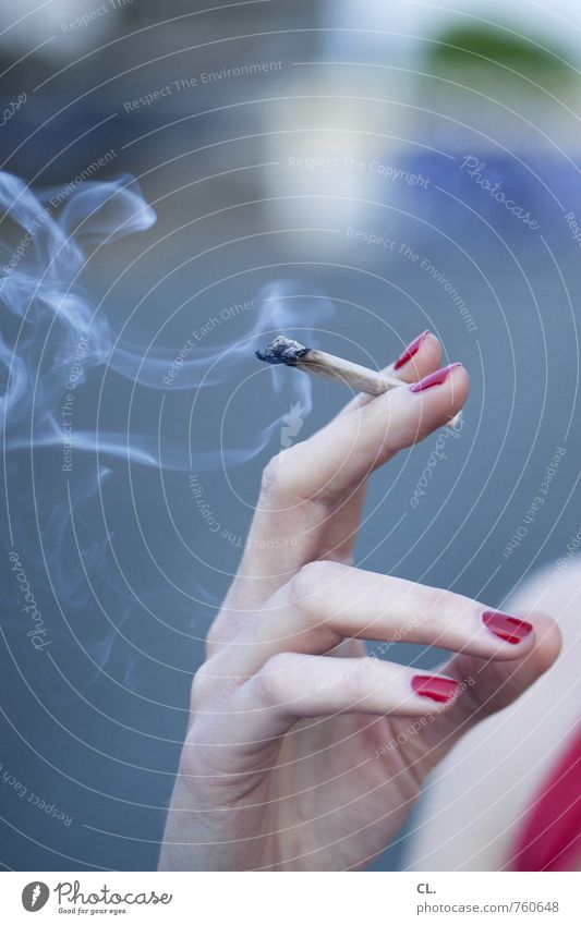 ein bisschen hedonismus darf schon sein Lifestyle Nagellack Gesundheit Rauchen Mensch feminin Junge Frau Jugendliche Erwachsene Hand Finger 1 18-30 Jahre