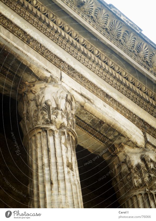 Alle Wege führen nach Rom alt schwarz oben Stein Mauer Sand Gebäude Kunst Architektur groß Italien Denkmal Vergangenheit Eingang historisch Säule