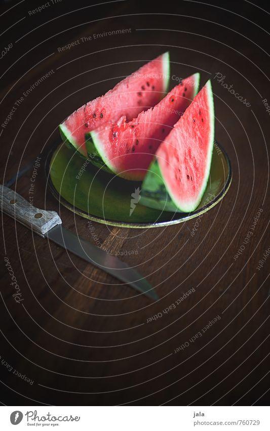 melone Gesundheit Lebensmittel Frucht Ernährung süß lecker Appetit & Hunger Bioprodukte Teller Messer Vegetarische Ernährung Holztisch Fingerfood Melonen