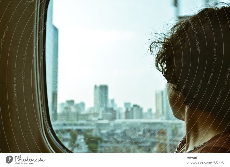 Tokyo Mensch feminin Junge Frau Jugendliche Erwachsene 1 Stadt Hauptstadt Stadtzentrum bevölkert überbevölkert Haus Hochhaus Bankgebäude Personenverkehr
