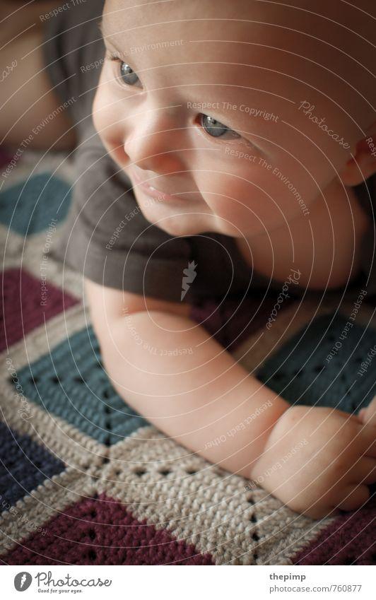 Babyleben II maskulin Kindheit Kopf 1 Mensch 0-12 Monate beobachten entdecken krabbeln Lächeln Fröhlichkeit Glück klein Neugier niedlich Zufriedenheit
