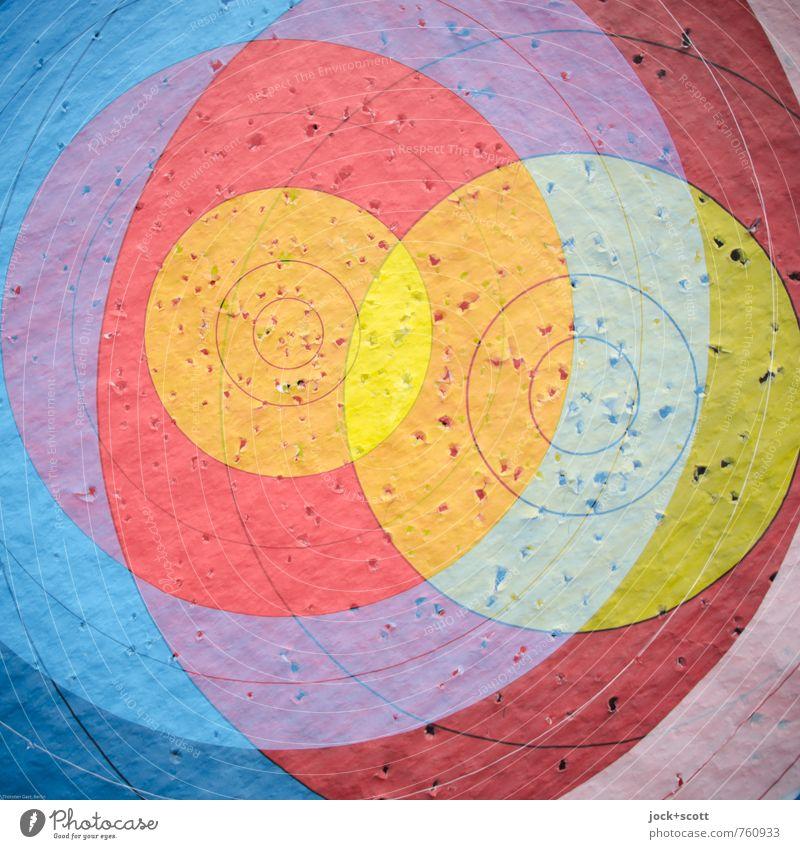 doppelte Peilung Bogensport Treffer Zielscheibe Zielkreuz Loch Papier Linie Kreis rund Design Konzentration Irritation Doppelbelichtung überlagert Oberfläche