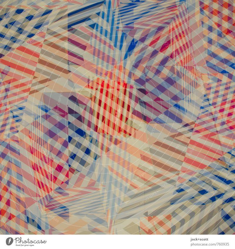 Wirrwarr Farbraum Grafik u. Illustration Streifen Netzwerk kariert eckig blau rot unbeständig chaotisch komplex Surrealismus Irritation Doppelbelichtung