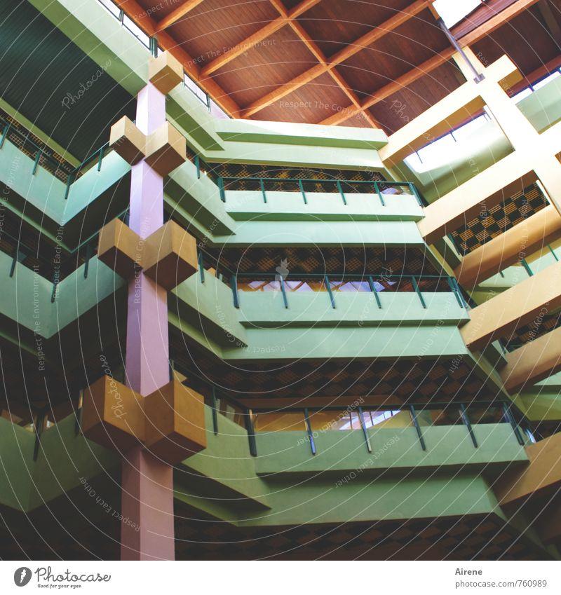 gedeckte Farben Haus Architektur Havanna Kuba Menschenleer Hochhaus Gebäude Fassade Balkon Dach Empore Säule Holzdach Etage oben trocken mehrfarbig grün