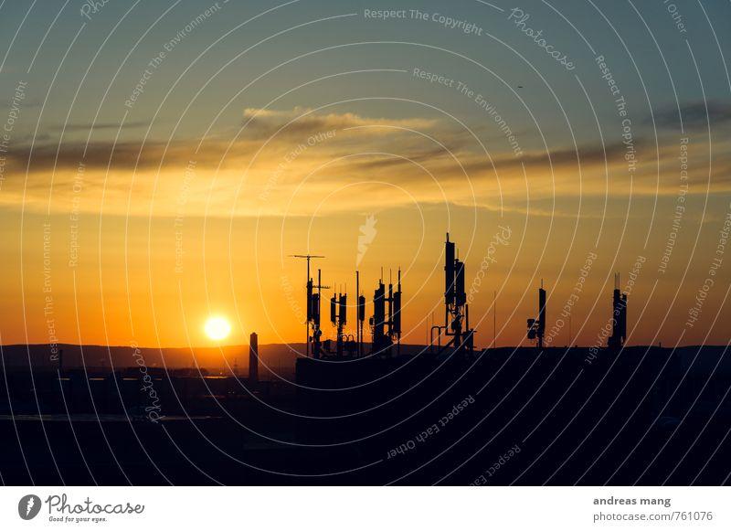 Kommunikationsuntergang Stadt Horizont Business Ordnung modern Zukunft Kommunizieren Technik & Technologie Wandel & Veränderung Telekommunikation Netzwerk