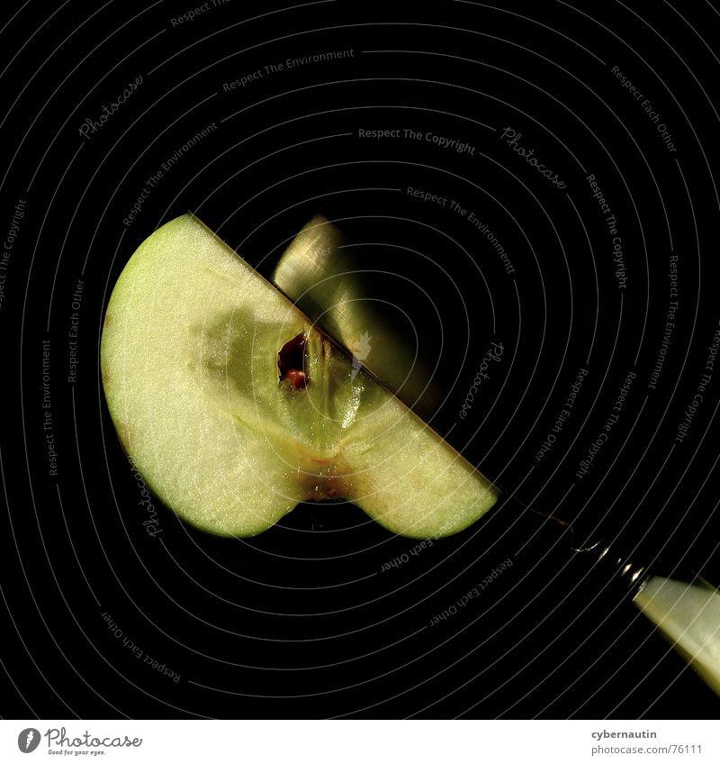 Obstmesser Reflexion & Spiegelung geschnitten Teilung Apfel apfelhälfte Frucht Messer zerschnitten Ernährung