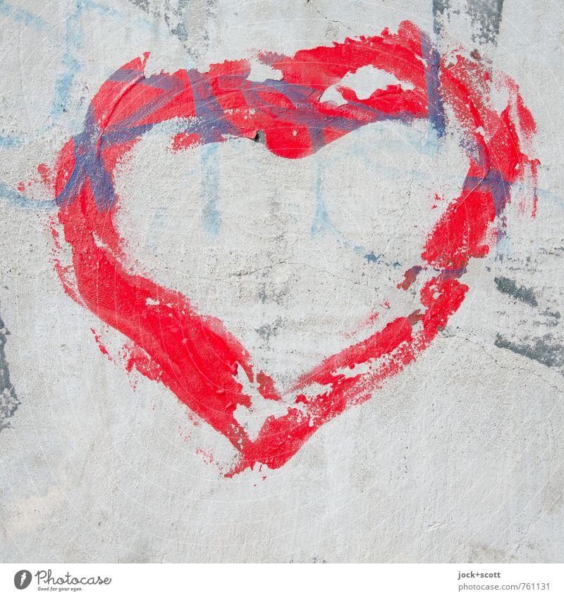 Herzensangelegenheit Farbe rot Graffiti Gefühle Liebe grau Glück Beton Kreativität Lebensfreude Herz Warmherzigkeit einzigartig kaputt Romantik Macht