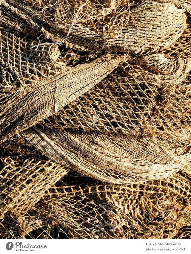 Verfänglich Ferien & Urlaub & Reisen Tourismus Handwerk Werkzeug fangen festhalten liegen Netzwerk Zusammenhalt Fischereiwirtschaft Fischernetz Loch beige Seil
