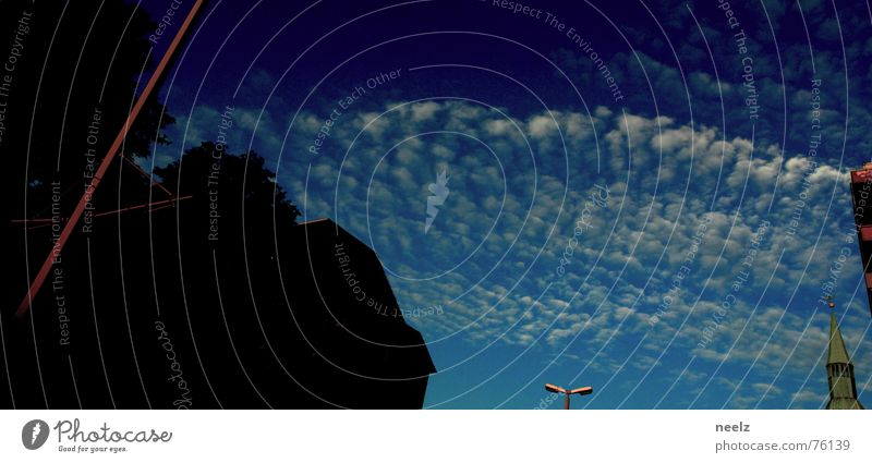 | etwas blau | Wolken Haus Silhouette Braunschweig Himmel Strommast Religion & Glaube hagenmarkt