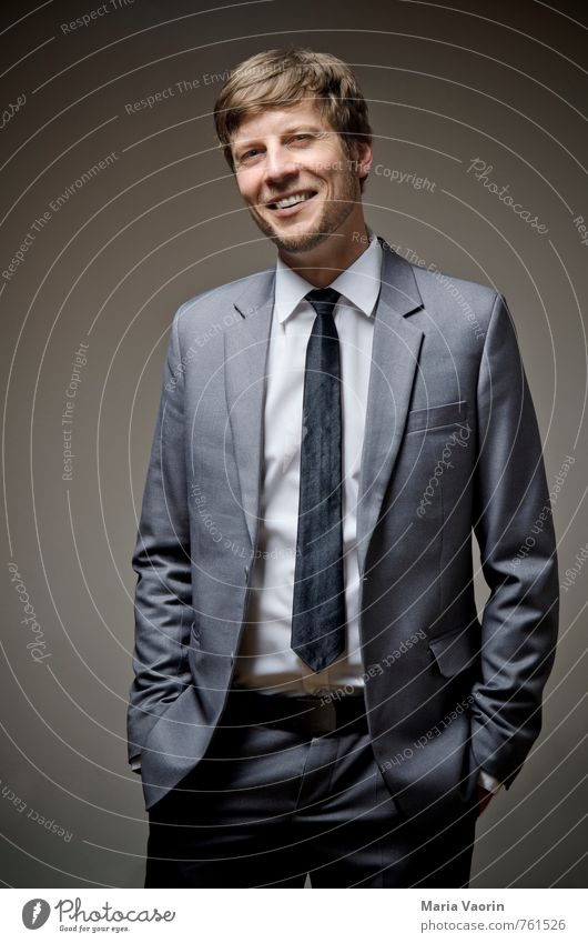 Dresscode 2 elegant Stil Business Mensch maskulin Mann Erwachsene 1 30-45 Jahre Hemd Anzug Krawatte Dreitagebart Lächeln lachen Erfolg Freundlichkeit