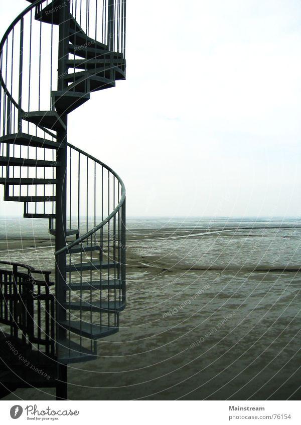 Treppe zum Meer Wasser Meer Architektur Horizont Treppe Wattenmeer Wendeltreppe Nordsee