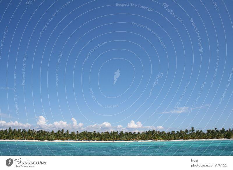 la isla Strand Palme Meer Wolken Ferien & Urlaub & Reisen Licht Physik Wohlgefühl schön Pause Dominikanische Republik Insel Sand Wasser paradis Wetter blau