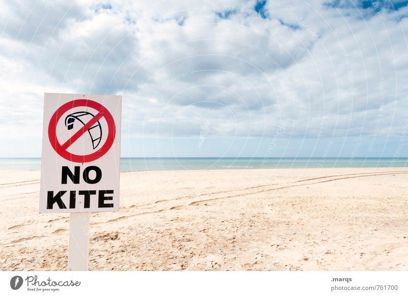 No Kite Freizeit & Hobby Kiting Ferien & Urlaub & Reisen Abenteuer Freiheit Umwelt Natur Landschaft Himmel Wolken Horizont Sommer Strand Schriftzeichen