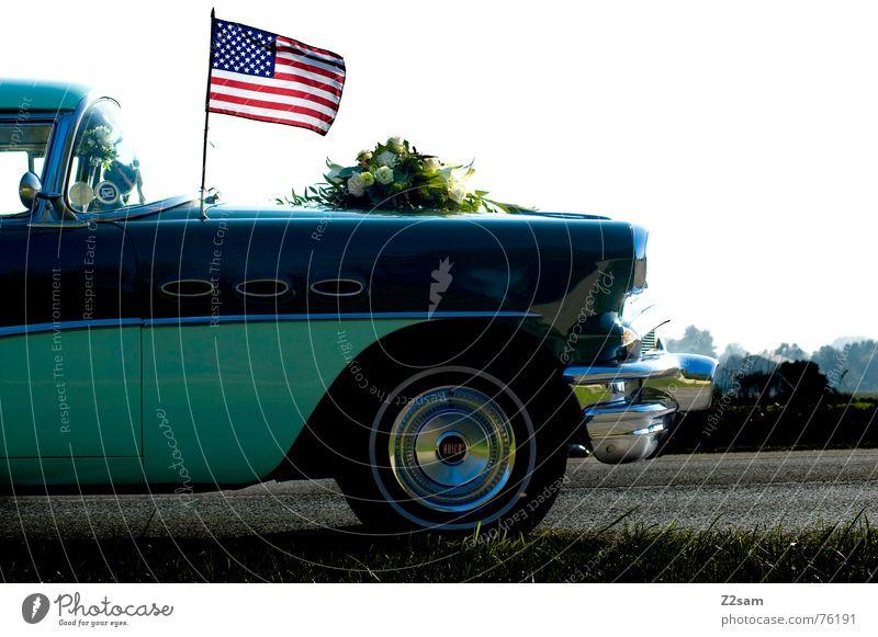 orginal the USA Fahne Streifen Wiese glänzend Felge türkis Verkehr Fahrzeug Stil car PKW stars & stripes flag america Freiheit Straße street