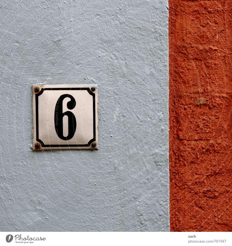 6 sells weiß Haus Wand Mauer Gebäude Linie Fassade orange Häusliches Leben Schilder & Markierungen Hinweisschild Ziffern & Zahlen Zeichen Bauwerk Warnschild