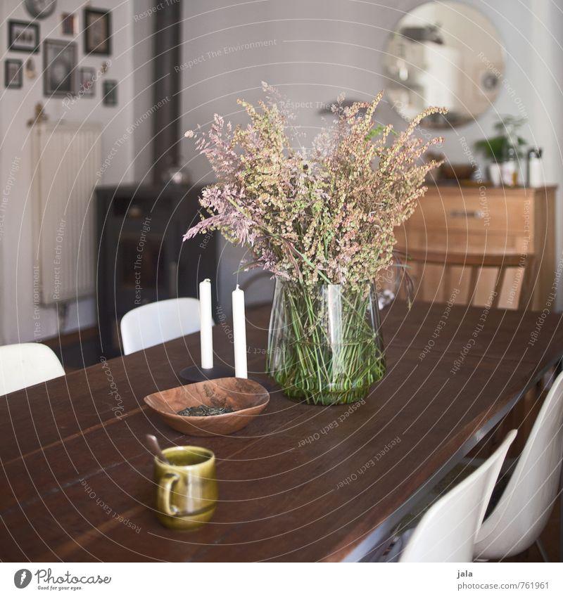 küchentisch Tasse Häusliches Leben Wohnung Innenarchitektur Dekoration & Verzierung Möbel Stuhl Tisch Spiegel Küche Kommode Pflanze Wildpflanze Blumenstrauß