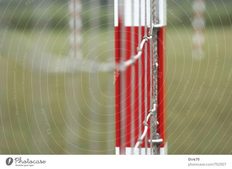 Nach dem Spiel ist immer ... grün weiß Einsamkeit rot ruhig Wiese Sport Gras grau Linie Metall Freizeit & Hobby Sträucher warten leer Fußball