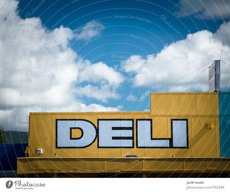 Delikatessen Himmel Wolken Ferne gelb Fassade Zufriedenheit authentisch Ernährung Kultur Warmherzigkeit Schönes Wetter Ziel Gastronomie Tradition Wort Werbung