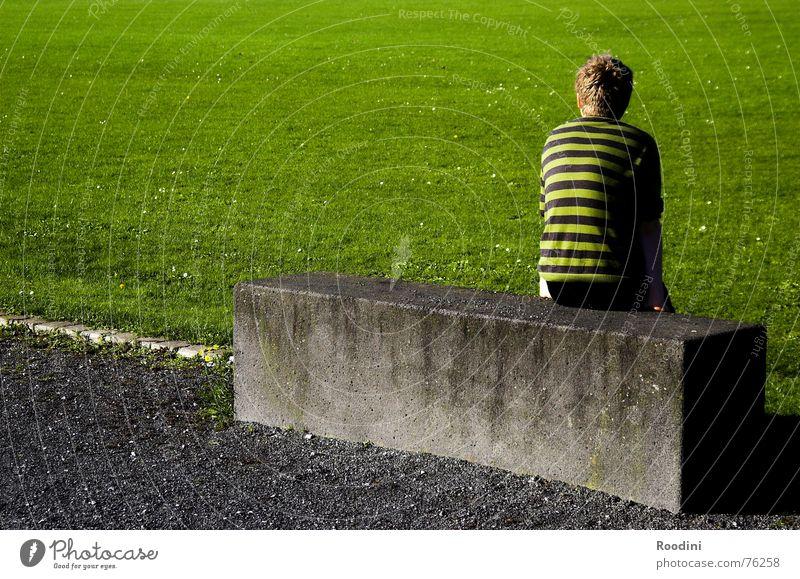 Der Joker kurz vor der Einwechslung Natur grün Pflanze Sommer ruhig Sport Wiese Spielen Park Denken Ausflug sitzen Rasen Pause beobachten Streifen