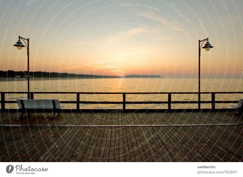 Laterne, Sonne, Laterne Erholung Ferien & Urlaub & Reisen Ferne göhren Horizont Mecklenburg-Vorpommern Meer mönchgut Ostsee Rügen Sonnenuntergang Himmel Steg