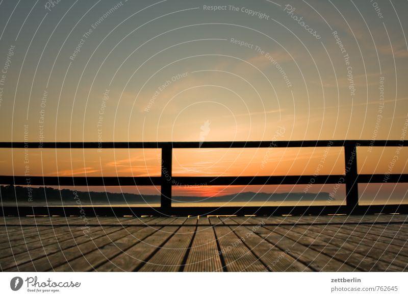 Sonne (untergegangen) Erholung Ferien & Urlaub & Reisen Ferne göhren Horizont Mecklenburg-Vorpommern Meer mönchgut Ostsee Rügen Sonnenuntergang Brücke Geländer