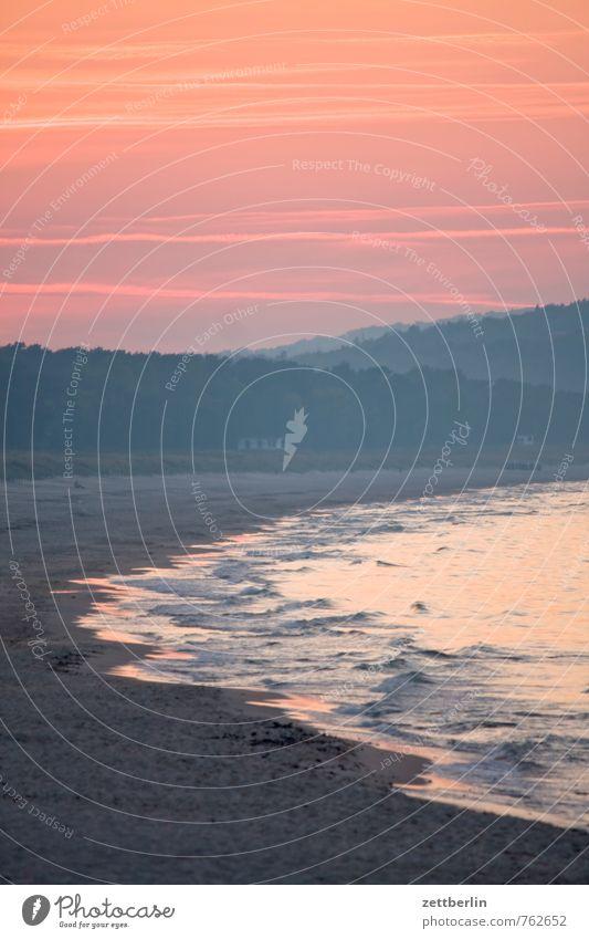 Rosa Ostsee Erholung Ferien & Urlaub & Reisen göhren Mecklenburg-Vorpommern Meer mönchgut Rügen Sonnenuntergang Ferne Bucht Kurve Bogen Wellen Brandung Abend