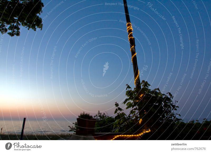 Lightshow (einfach) Erholung Ferien & Urlaub & Reisen Mecklenburg-Vorpommern Meer Ostsee Strand Horizont Küste Himmel Abend Feierabend Strommast Fahnenmast