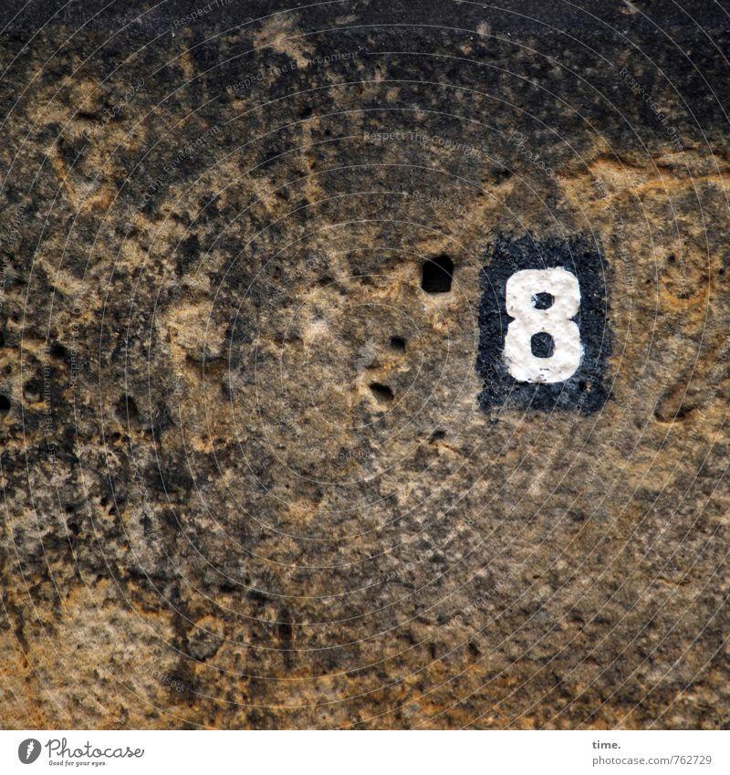 °8 Felsen Berge u. Gebirge Stein Zeichen Ziffern & Zahlen Schilder & Markierungen Hinweisschild Warnschild Loch authentisch historisch natürlich ästhetisch