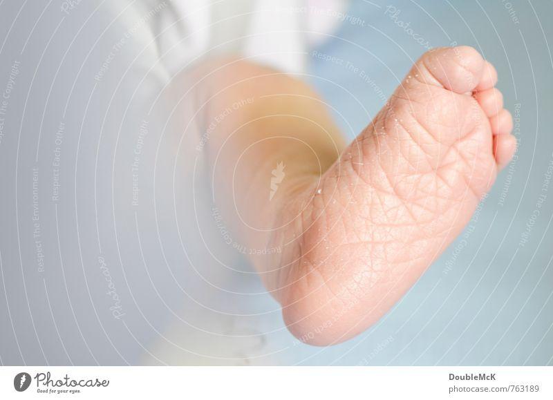 Schrumpelfüßchen Baby Fuß Zehen 1 Mensch 0-12 Monate liegen klein blau rosa Frieden Kindheit nackt Barfuß Farbfoto Innenaufnahme Nahaufnahme Detailaufnahme