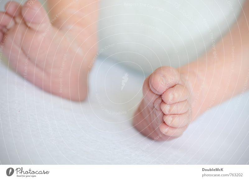Zeig her deine Füße! Mensch weiß nackt klein Beine Fuß rosa liegen Kindheit Baby Barfuß Zehen 0-12 Monate Zehennagel