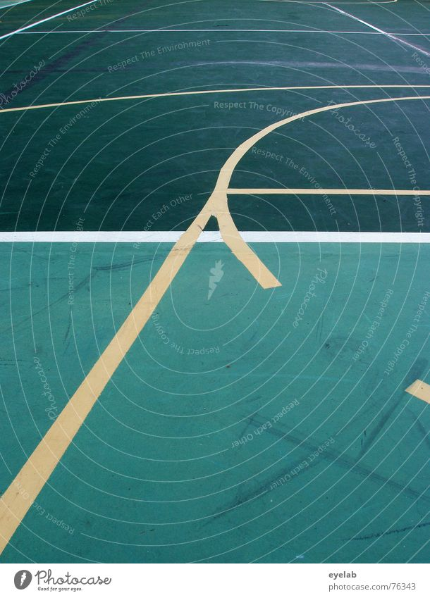 40:30 Ferien & Urlaub & Reisen grün Sommer weiß Freude gelb Sport Spielen Linie rund Hoffnung Mischung Tennis Basketball Sportplatz Tennisplatz