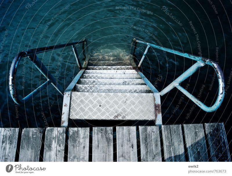 Einsteigerprogramm Natur Ferien & Urlaub & Reisen alt blau Umwelt Holz Schwimmen & Baden See Metall Treppe Freizeit & Hobby Schönes Wetter Ziel Treppengeländer