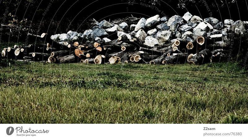 raw material Holz Säge Wald Wiese grün braun weiß Haufen Stein Felsen Baumstamm Natur Berge u. Gebirge