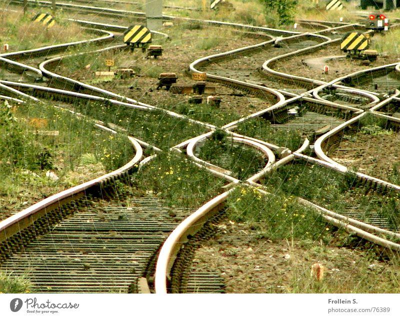 warten auf die deutsche bahn grün gelb Gras grau Linie wild Verkehr Schilder & Markierungen Eisenbahn Gleise Verkehrswege durcheinander Eisen schwingen bewachsen Verkehrsschild