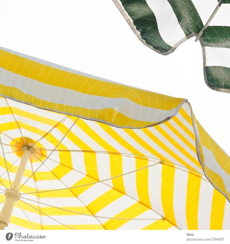 gut beschirmt Wohlgefühl Ferien & Urlaub & Reisen Tourismus Sommer Sommerurlaub Sonne Strand Meer Insel Himmel Ostsee eckig heiß hell gelb grün weiß