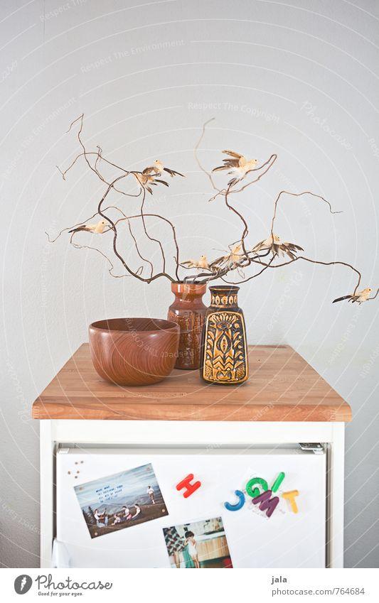 kühlschrank Häusliches Leben Wohnung Innenarchitektur Dekoration & Verzierung Küche Kühlschrank Kitsch Krimskrams Vase Schalen & Schüsseln Ast Vogel Postkarte