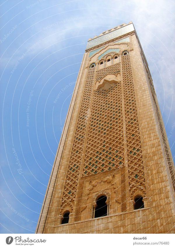 Minaret Casablanca Moslem Religion & Glaube Islam mosque morocco arab holy magreb minaret mosaic madrasa marble blau Himmel